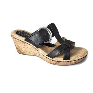 BOC Black Strappy Sandal Cork Wedges Size 7